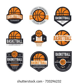 Set of basketball logos, emblems, labels and design elements. Vector illustration isolated on white background