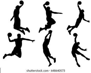 Set of basketball player dunk silhouette
