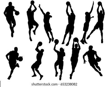 Set of basketball player silhouette