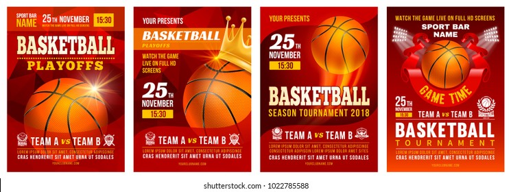 Set of basketball posters with basketball ball. Basketball Playoff advertising. Sport event announcement. Place your text and emblems of participants. Vector illustration.