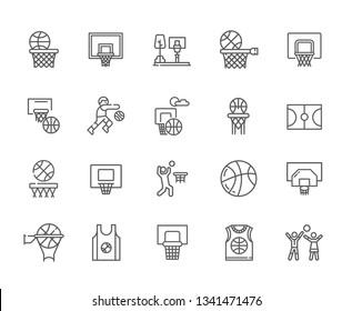 Set of basketball Related Vector Line Icons. Includes such Icons as basket, ball, Playground, competitions, feint, reception, maneuver, selection, sports uniform, t-shirt, championship, champion, NBA