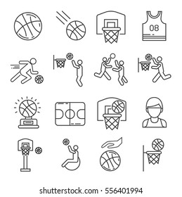 Set of basketball Related Vector Line Icons. Includes such Icons as, basketball team,  hoop, sports uniforms, playing field,  players