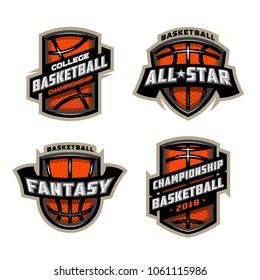 Set of Basketball sports logos.
