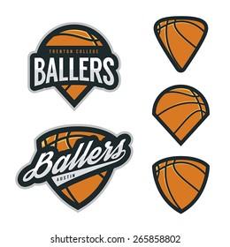 Set of basketball team emblem backgrounds