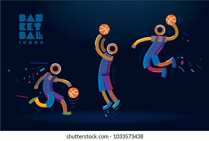 Set of basketball  vector color  line icons
