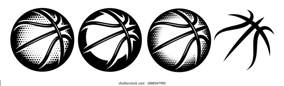 A set of basketballs with different designs. Templates for logo design. Vector isolated illustration.
