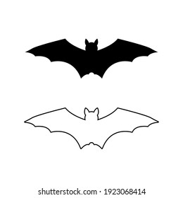 Set of Bat silhouette. Printable template. Bat icon isolated on white. Vector.