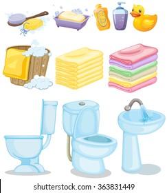 Set of bathroom equipments illustration