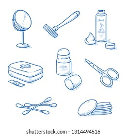 Set of bathroom, hygiene objects: mirror, shaver with cream, first aid kit, deodorant, scissors, cotton swabs and pads for cleaning. Hand drawn blue line art cartoon vector illustration.