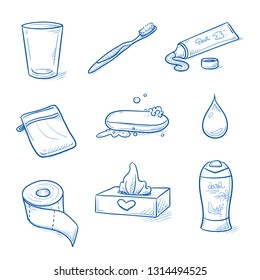 Set of bathroom, hygiene objects: tooth brush and tooth paste, glass, soap, toilet paper, tissue box, shower cream and washcloth. Hand drawn blue line art cartoon vector illustration.