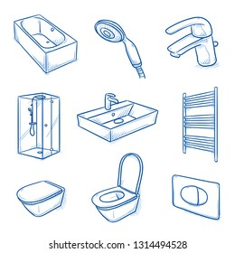 Set of bathroom interior objects: shower, bath tub, water basin, mixing tap, shower head, toilet and radiator. Hand drawn blue line art cartoon vector illustration.