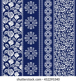 Set of batik bohemian borders. Damask seamless pattern, leaves stripes, gypsy and ethnic motifs. Ethnic textile collection. White on dark blue.