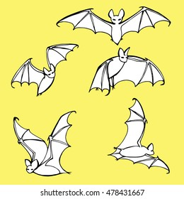 Set bats. Collection of bats. Flying bats. Halloween. Cartoon bats. Line art. Drawing by hand. Doodle. Tattoo.