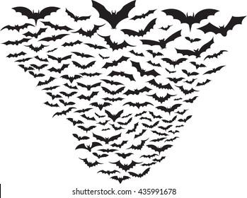 Set of bats flying isolated on white
