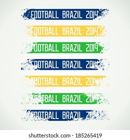 """Set battered aged banners with lettering """"Football Brazil 2014"""". Vector eps 10"""