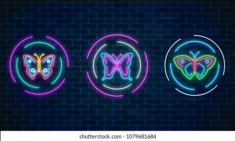 Set of batterfly glowing neon signs in round frames on dark brick wall background. Spring flyer emblem set in circle. Night street advertising symbols. Vector illustration.