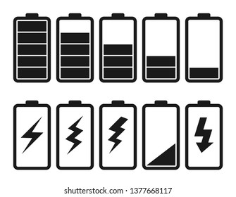 Set of batteries with different levels of charge