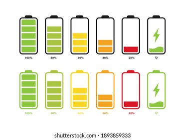 Set of batteries with different levels of charge. Car battery indicator, battery charge signs. Wireless charging energy sign. Vector illustrations.