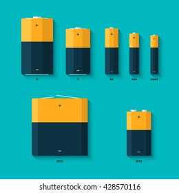 Set of batteries of different sizes. AAAA, AAA, D, C and AA batteries. Kinds of batteries. Vector flat design with long shadow.