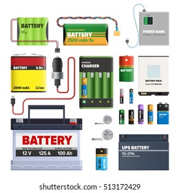 Set of batteries. Primary cells or non-rechargeable batteries. Secondary cells or rechargeable batteries. Automotive battery. Power bank. High discharge universal battery, cylindrical dry AA battery