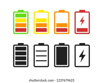Set of Batteries Related Vector Icons