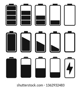 Set of battery charge indicator icons in flat style vector illustration. EPS 10