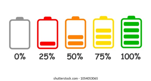 Set of battery charge level indicator in percent - stock vector