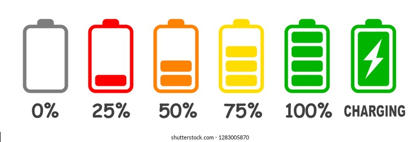 Set of battery charge level indicator in percent - vector