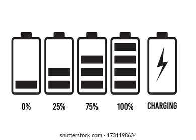Set of battery charge level indicator in percent. Eps10 vector illustration.