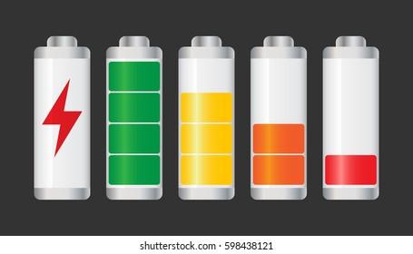 Set of battery charge level indicator. Vector illustration on black background.
