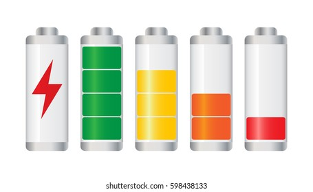Set of battery charge level indicator. Vector illustration on white background.