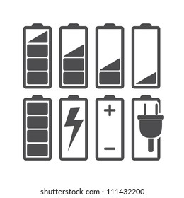 Set of battery charge level indicators. Vector illustration.