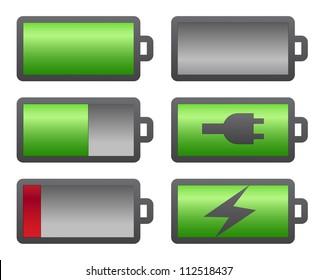 Set of battery charge level indicators on white