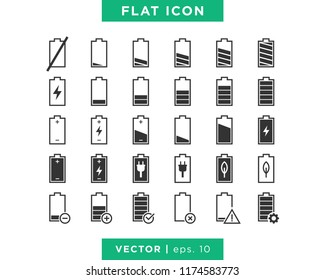 Set of Battery Icons Vector Flat Design
