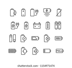 Set of Battery Vector line icons Editable Stroke. 48x48 Pixel Perfect.