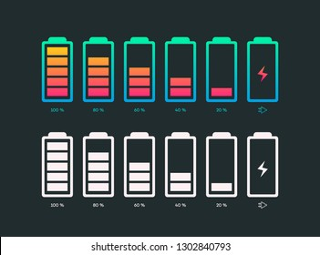 Set of battery vector symbol different level of charge for ui energy symbol mobile phone, battery charge signs. Car battery indicator. Accumulator battery, wireless charging energy icons. 10 eps