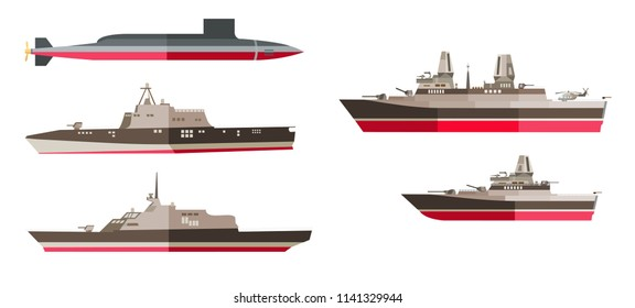 Set of battleships, frigates and submarine