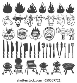 Set of BBQ and Grill labels and design elements. Bull and cow heads, butcher tools, grills, fire icons. Design elements for logo, label, badge, emblem, sign, menu, poster.