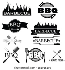 Set of bbq icons isolated on white background, vector illustration
