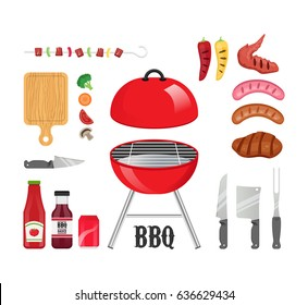 Set of BBQ products and tools vector illustration with grill, sauces, utensils, meat and vegetables.