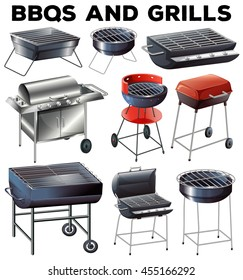 Set of bbqs and grills equipment illustration