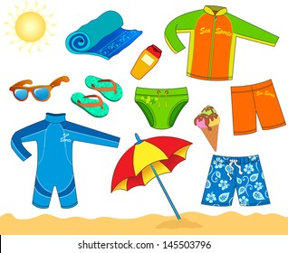 Set of beach accessories for boy