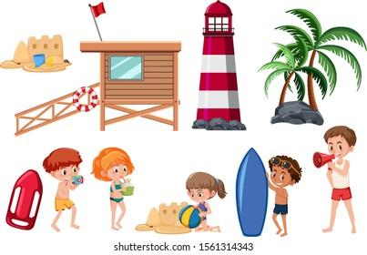 Set of beach activities on white background illustration