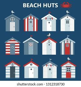 Set beach colourful huts, seagulls and crab. Vector illustration.