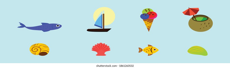 set of beach element cartoon icon design template with various models. modern vector illustration isolated on blue background