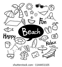 Set of beach elements in hand drawn doodles