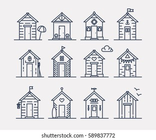 Set of beach hut icons, flat line style, blue and white. Variety of designs with different decoration, bunting, surf board, fish, flower pots, life buoy, paddles, flags. Vector illustration.