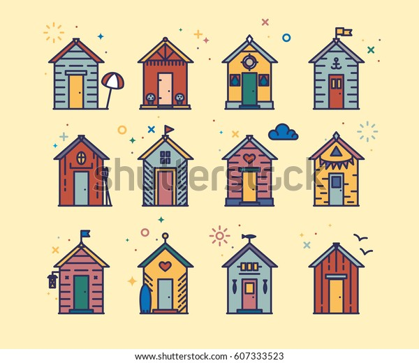 Color Hut Textures: Set Beach Hut Icons Flat Line Stock Vector (Royalty Free