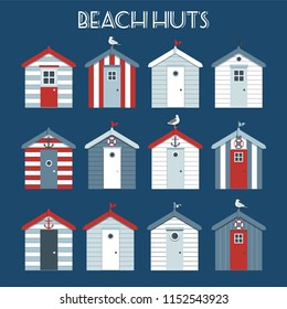 Set of beach huts with seagulls and lifebuoy.