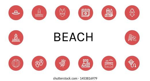 Set of beach icons such as Sunhat, Surf, Swimsuit, Summer, Surfer, Bikini, Beach ball, Slippers, Volleyball, Sand castle, Banana boat, Kite, Great buddha of thailand, Water slide , beach
